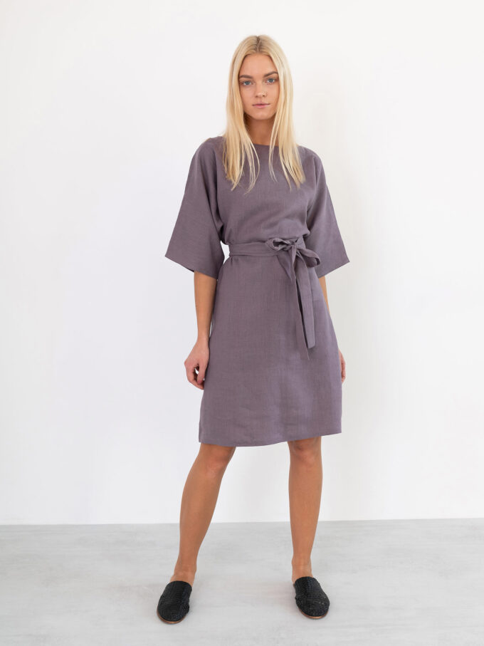 Image 4 of ISABEL Linen Dress in Lavender Violet from Love and Confuse