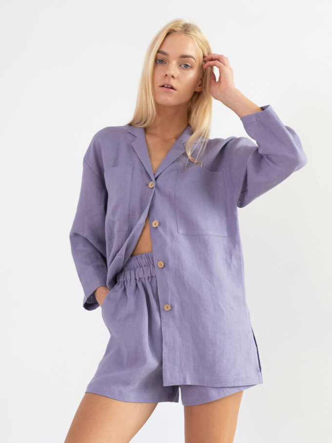 Image 1 of ISLA Linen Shorts in Violet Tulip from Love and Confuse