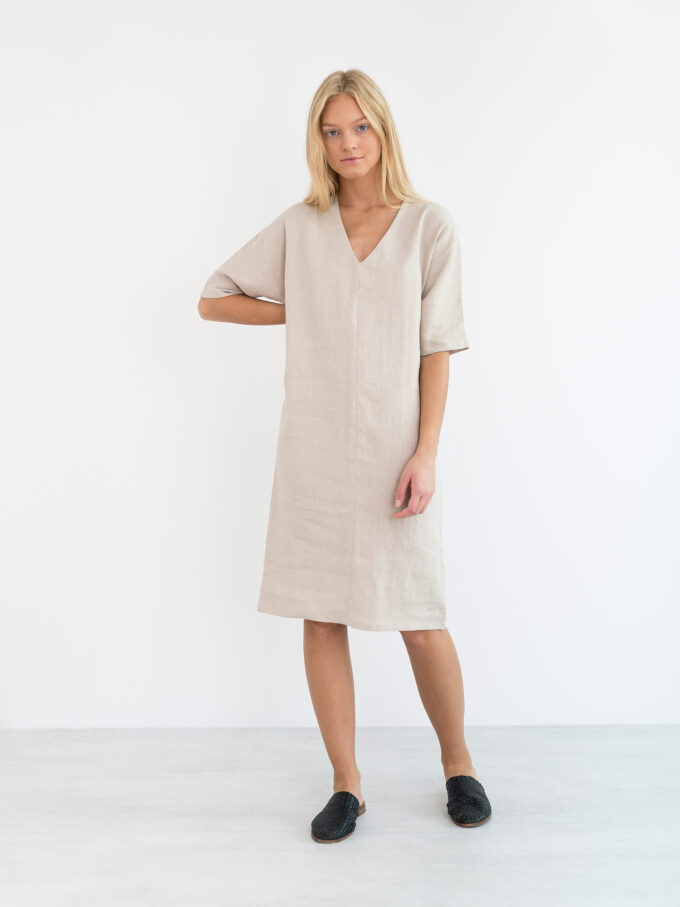 Image 2 of JASMINE Linen Dress in Beige from Love and Confuse