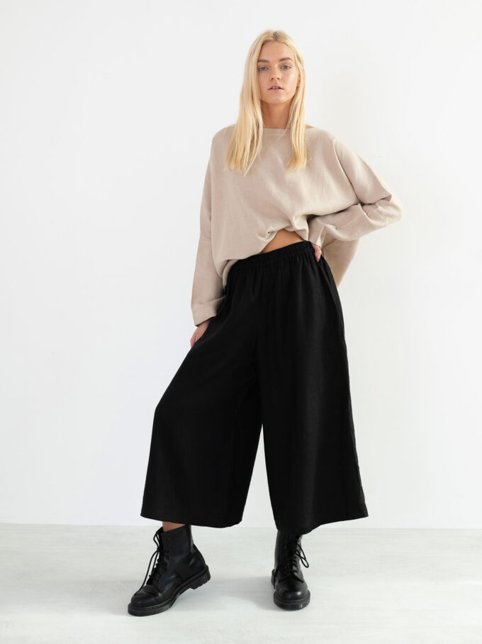 Image 1 of JAYDEN Linen Culottes in Black from Love and Confuse