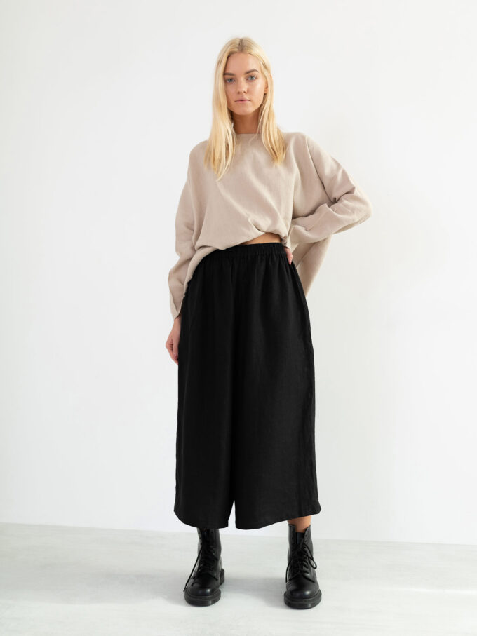 Image 3 of JAYDEN Linen Culottes in Black from Love and Confuse