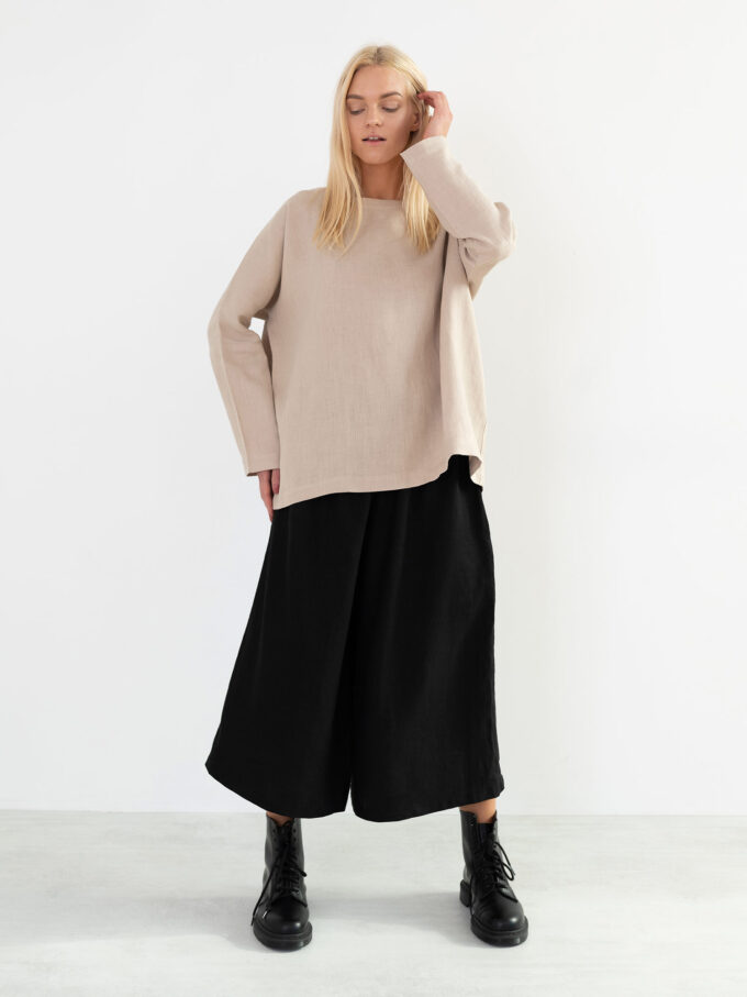 Image 4 of JAYDEN Linen Culottes in Black from Love and Confuse