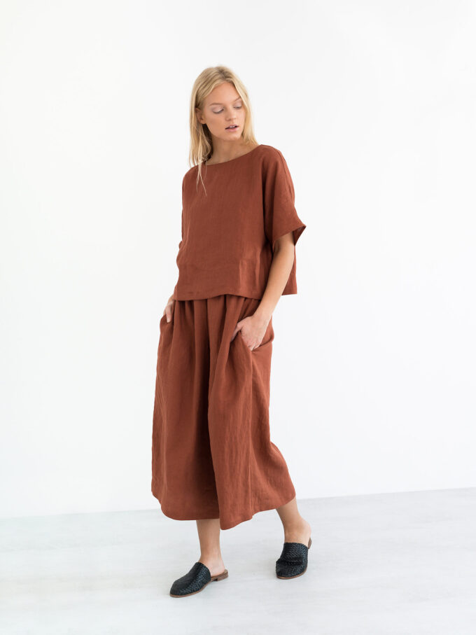 Image 1 of JAYDEN Linen Culottes in Rust from Love and Confuse