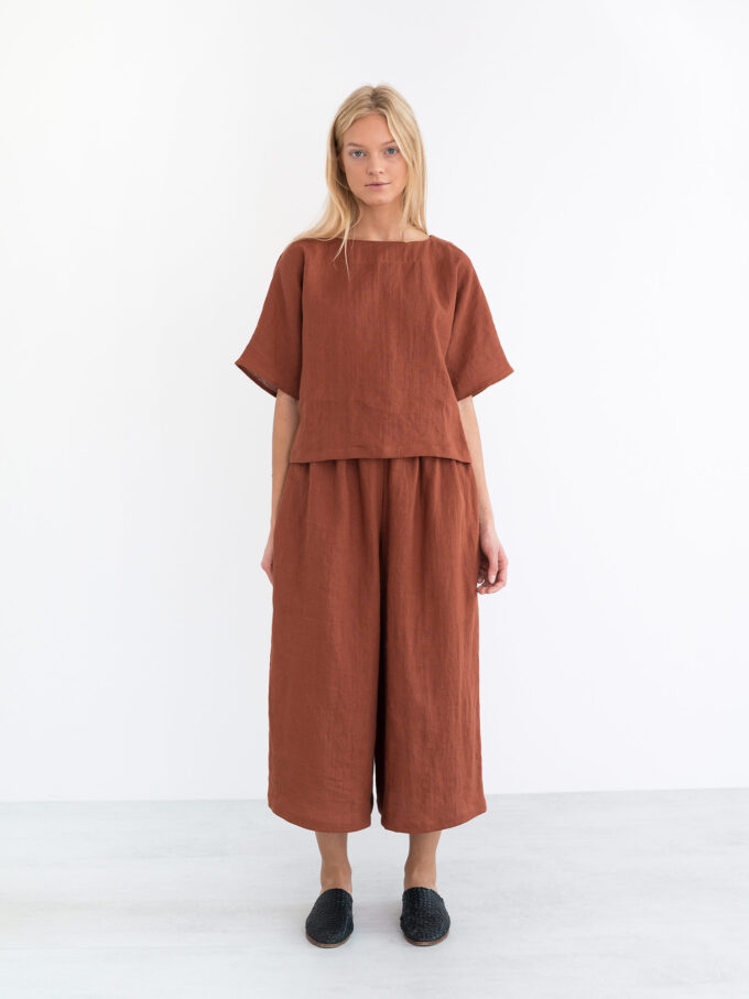 Image 2 of JAYDEN Linen Culottes in Rust from Love and Confuse