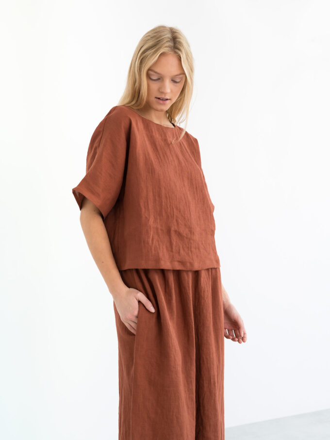 Image 3 of JAYDEN Linen Culottes in Rust from Love and Confuse