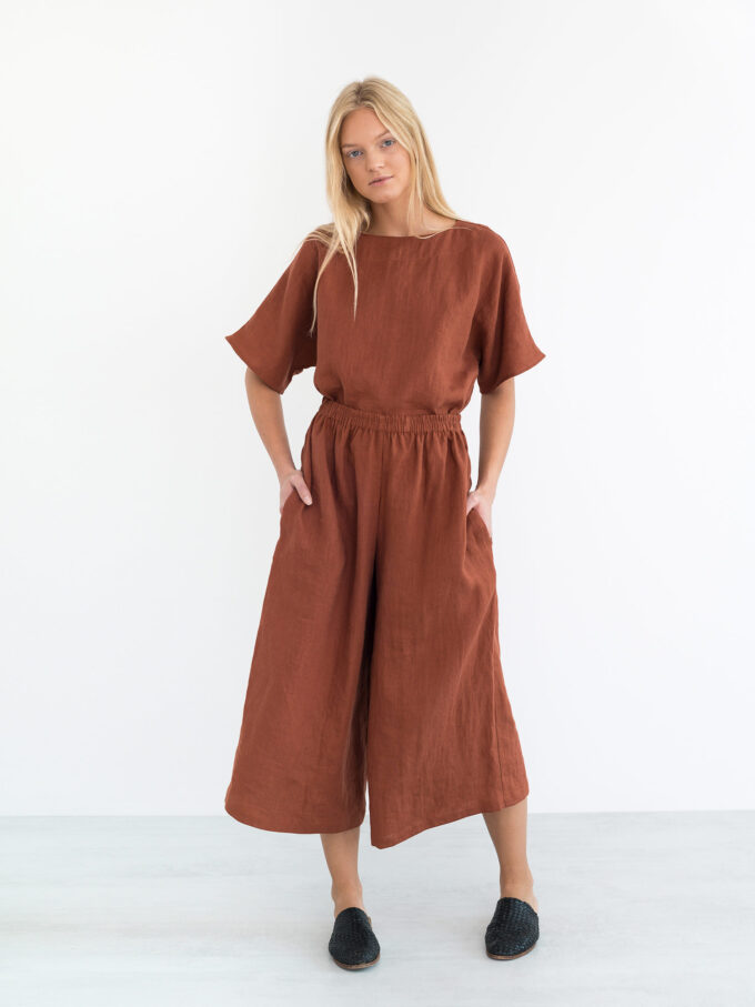 Image 4 of JAYDEN Linen Culottes in Rust from Love and Confuse