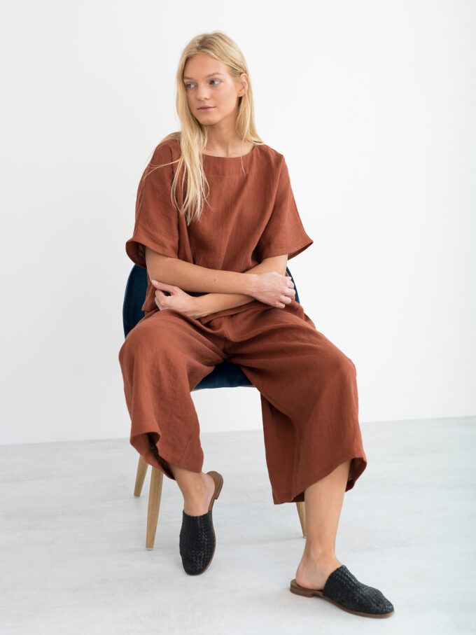Image 5 of JAYDEN Linen Culottes in Rust from Love and Confuse