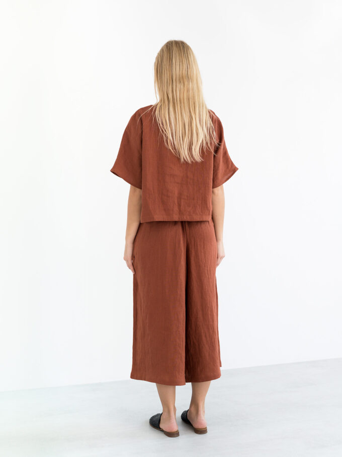 Image 6 of JAYDEN Linen Culottes in Rust from Love and Confuse