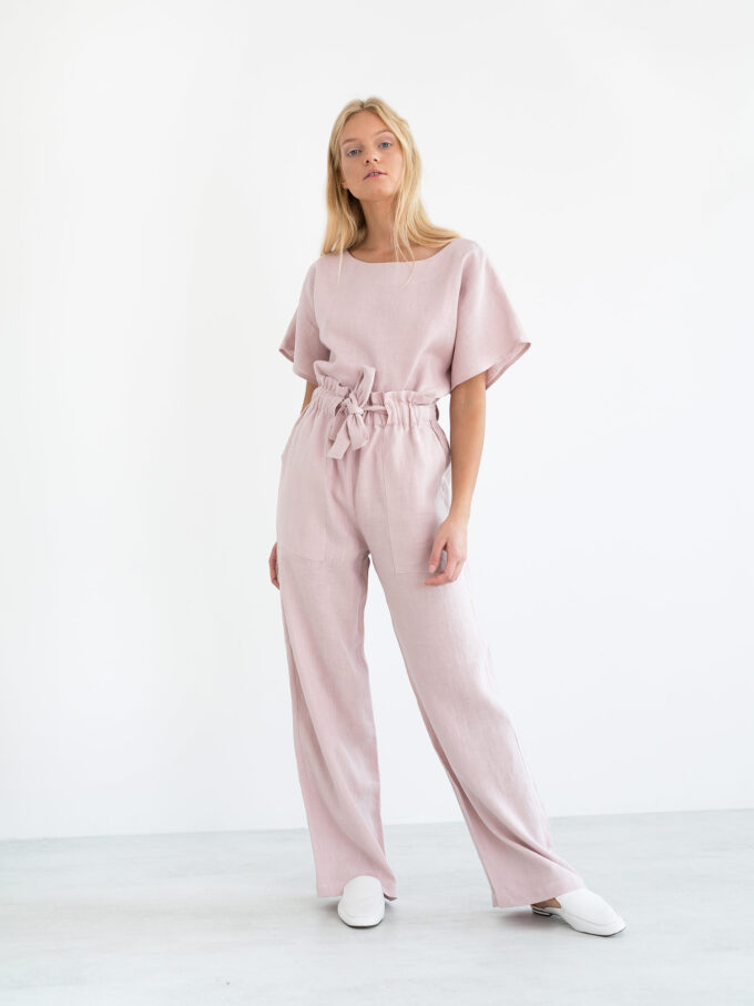 Image 1 of JULIET Wide Leg Linen Pants in Apple Blossom from Love and Confuse