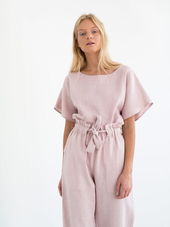 Image 4 of JULIET Wide Leg Linen Pants in Apple Blossom from Love and Confuse