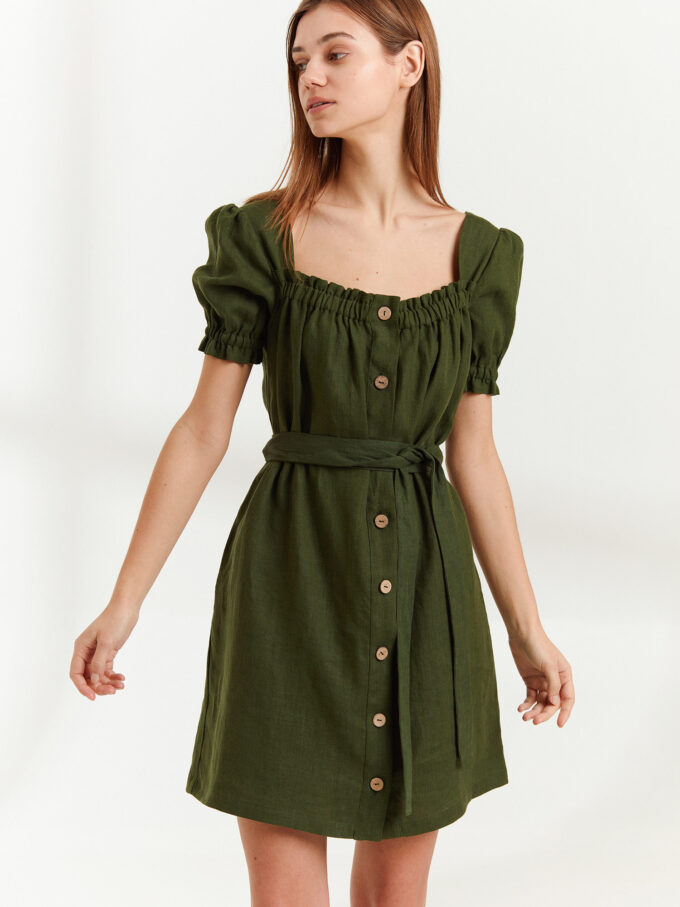 Image 1 of JULY Linen Button Down Dress in Forest Green from Love and Confuse