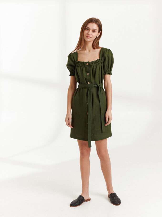 Image 2 of JULY Linen Button Down Dress in Forest Green from Love and Confuse