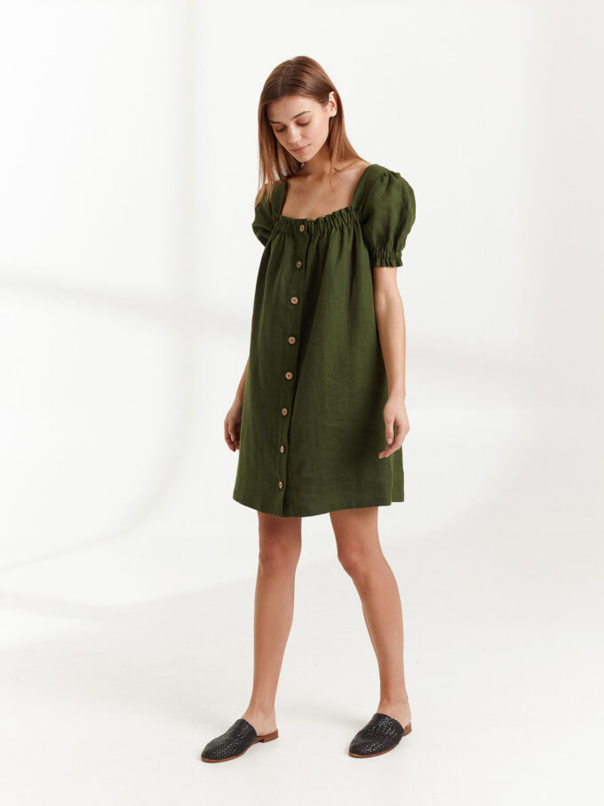 Image 3 of JULY Linen Button Down Dress in Forest Green from Love and Confuse