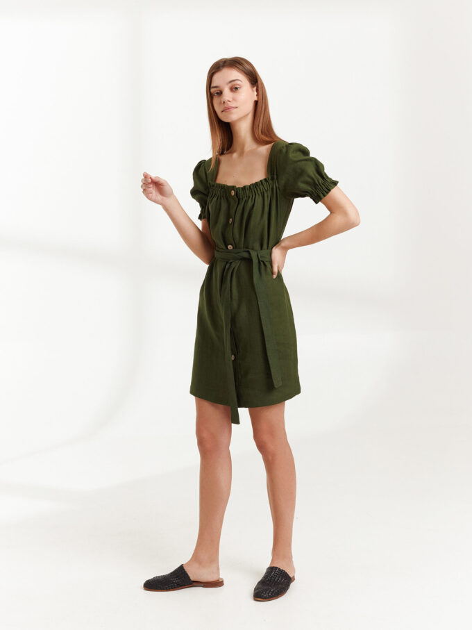 Image 4 of JULY Linen Button Down Dress in Forest Green from Love and Confuse