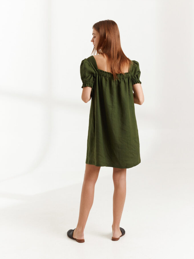 Image 5 of JULY Linen Button Down Dress in Forest Green from Love and Confuse