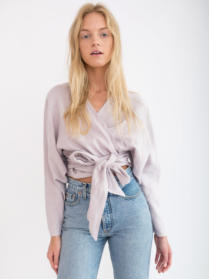 Image 1 of JUNE Linen Wrap Top in Silver Pink from Love and Confuse