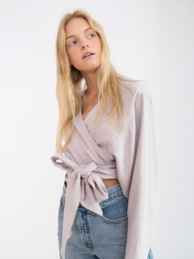 Image 3 of JUNE Linen Wrap Top in Silver Pink from Love and Confuse