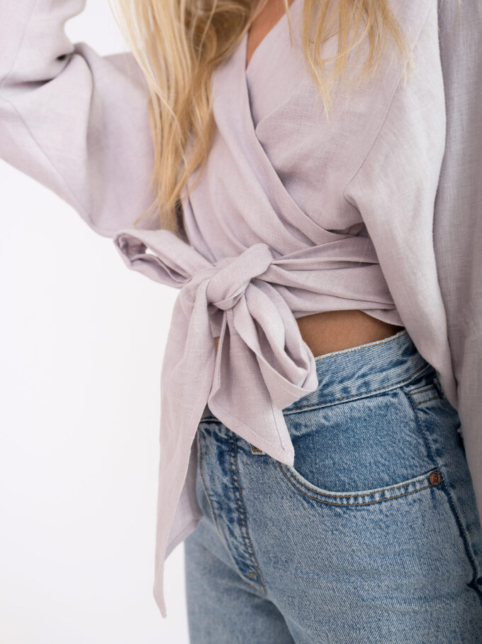Image 4 of JUNE Linen Wrap Top in Silver Pink from Love and Confuse
