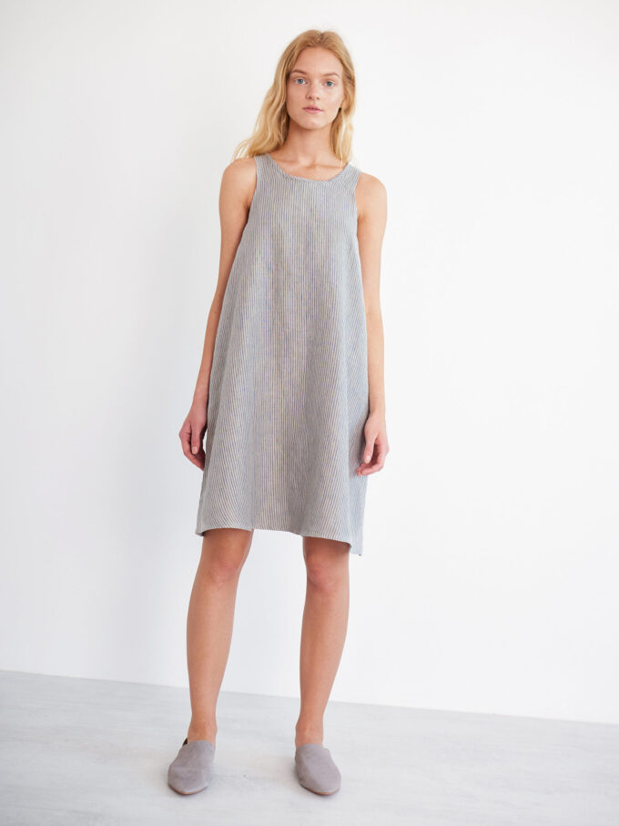 Image 1 of LILY Sleeveless Linen Dress in Stripe from Love and Confuse