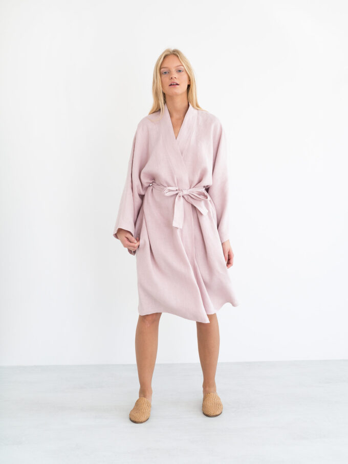 Image 2 of LUNA Linen Robe in Apple Blossom from Love and Confuse