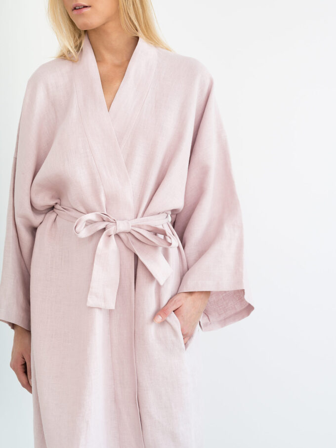 Image 4 of LUNA Linen Robe in Apple Blossom from Love and Confuse