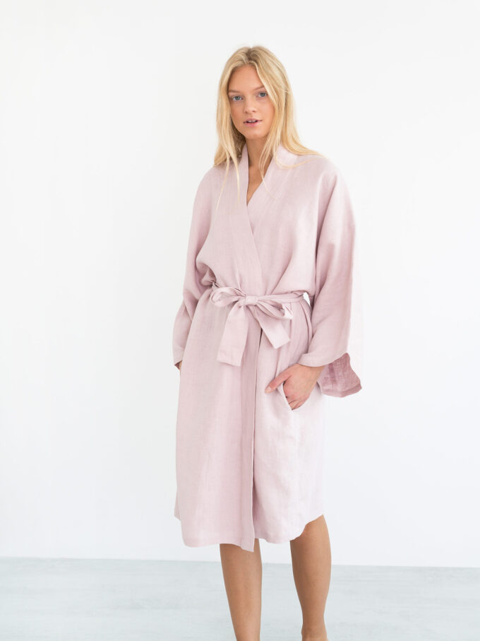 Image 6 of LUNA Linen Robe in Apple Blossom from Love and Confuse