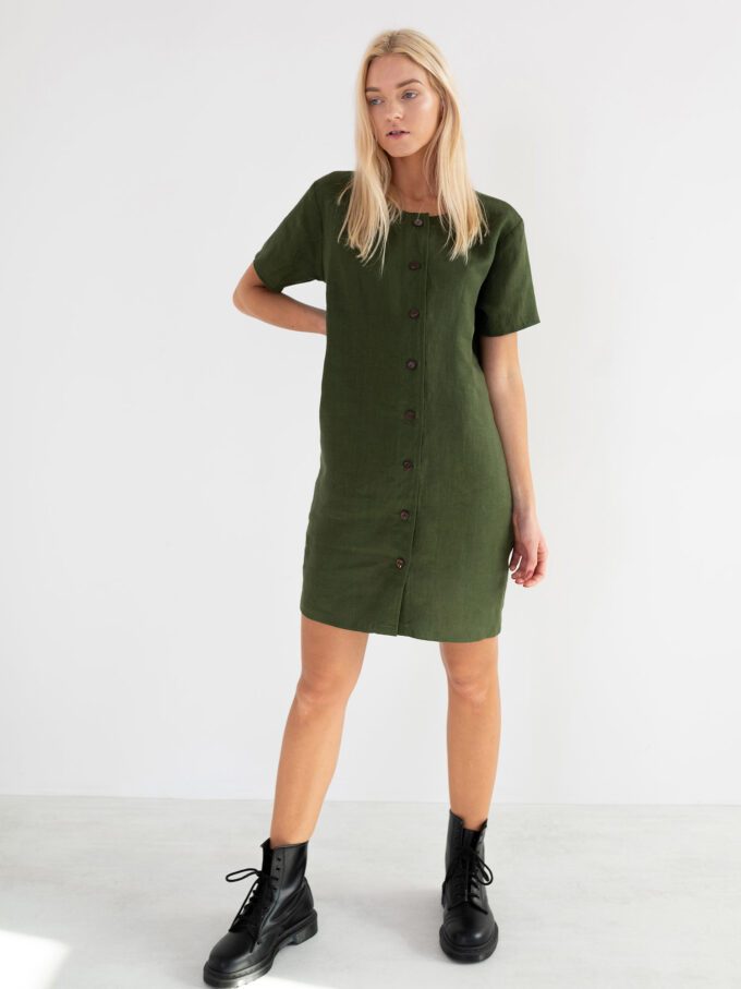 Image 1 of LYRA Short Sleeve Linen Dress in Forest Green from Love and Confuse