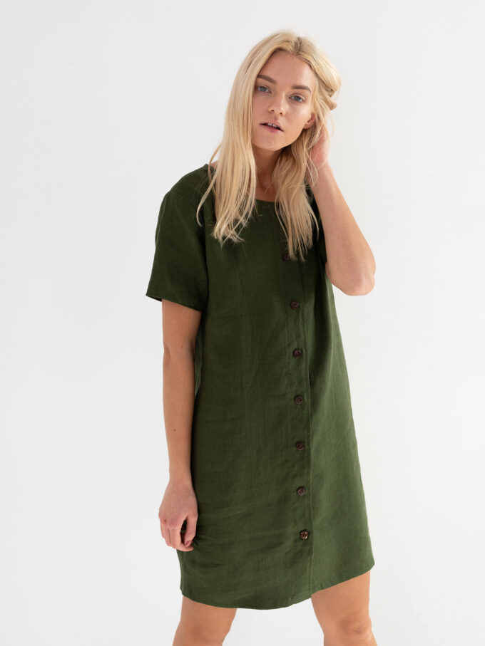 Image 2 of LYRA Short Sleeve Linen Dress in Forest Green from Love and Confuse