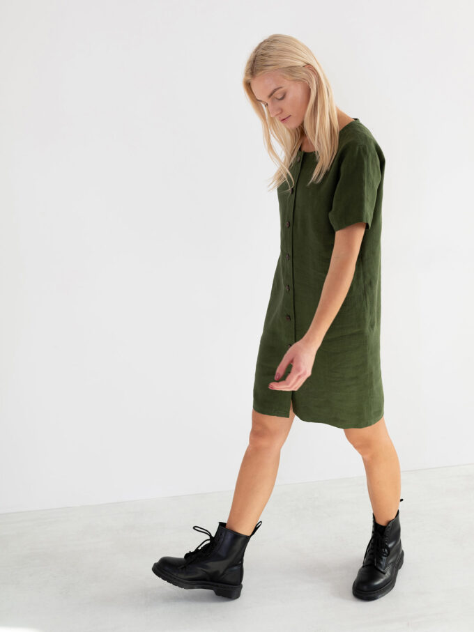 Image 4 of LYRA Short Sleeve Linen Dress in Forest Green from Love and Confuse