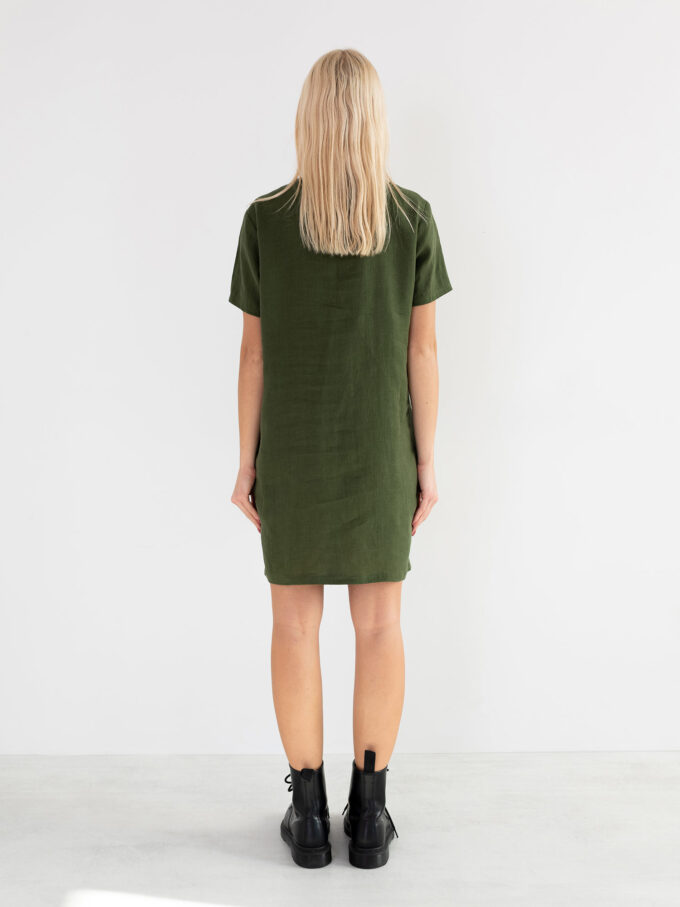 Image 5 of LYRA Short Sleeve Linen Dress in Forest Green from Love and Confuse