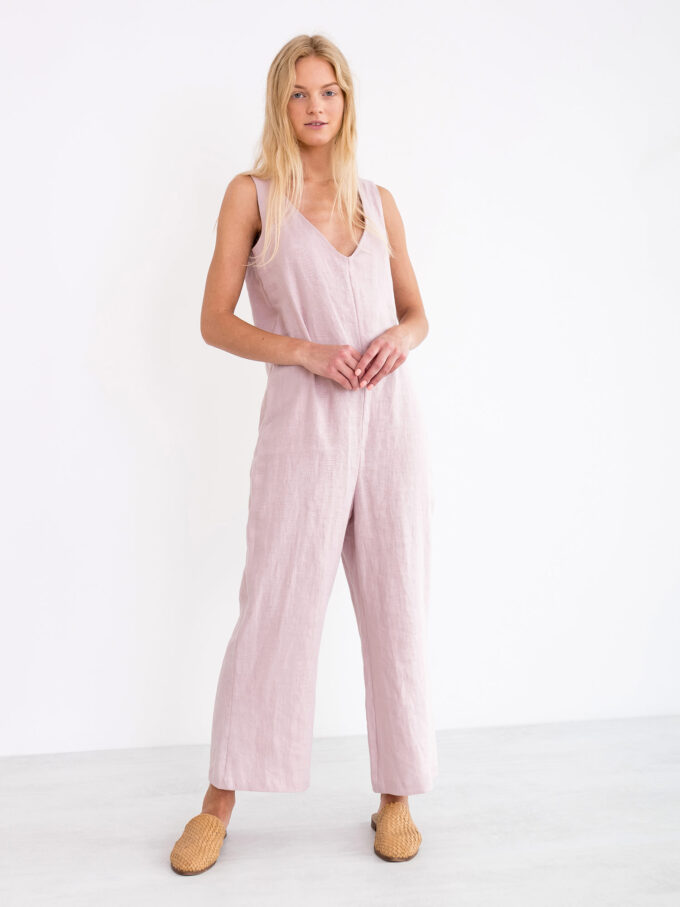 Image 1 of MADELINE Linen Jumpsuit in Apple Blossom from Love and Confuse