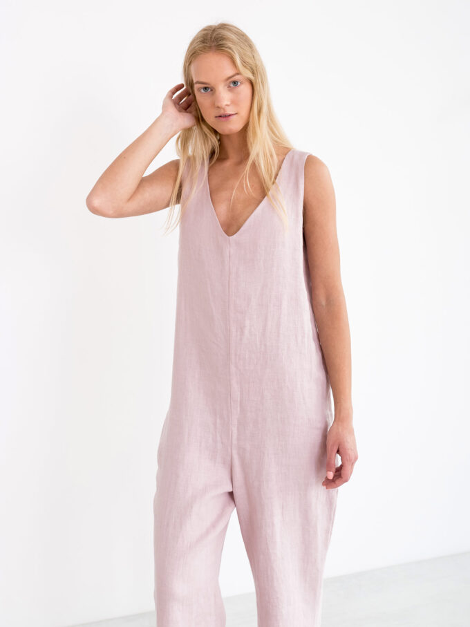 Image 2 of MADELINE Linen Jumpsuit in Apple Blossom from Love and Confuse