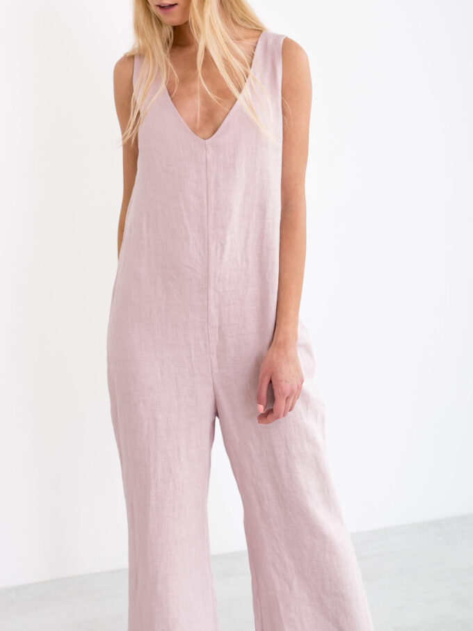 Image 3 of MADELINE Linen Jumpsuit in Apple Blossom from Love and Confuse