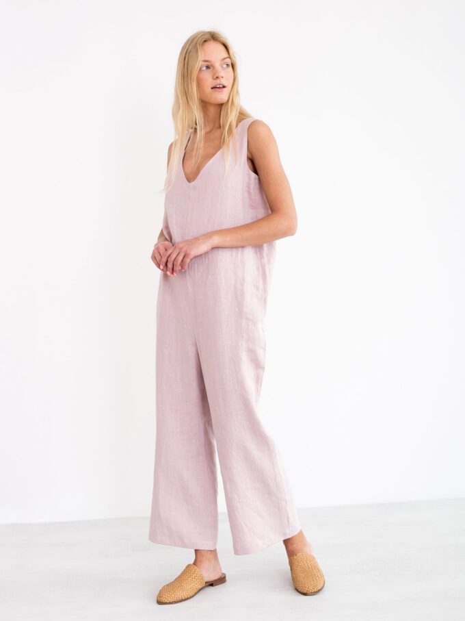 Image 4 of MADELINE Linen Jumpsuit in Apple Blossom from Love and Confuse