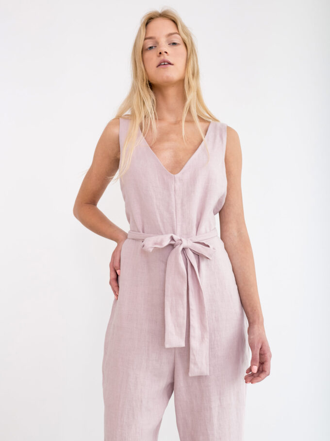 Image 6 of MADELINE Linen Jumpsuit in Apple Blossom from Love and Confuse