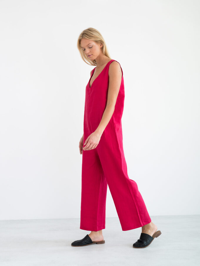 Image 4 of MADELINE Linen Jumpsuit in Vivid Raspberry from Love and Confuse