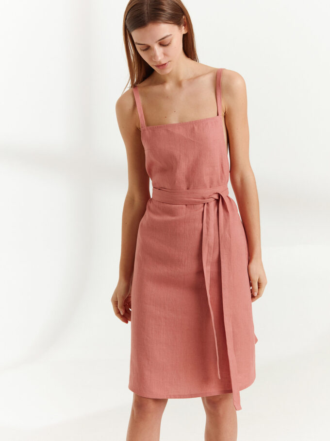 Image 1 of MAPLE Strappy Linen Dress in Salmon Pink from Love and Confuse