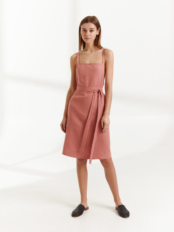 Image 2 of MAPLE Strappy Linen Dress in Salmon Pink from Love and Confuse
