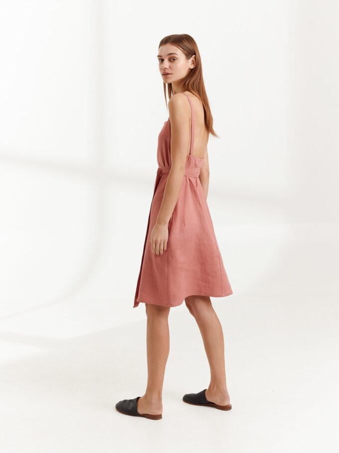 Image 3 of MAPLE Strappy Linen Dress in Salmon Pink from Love and Confuse