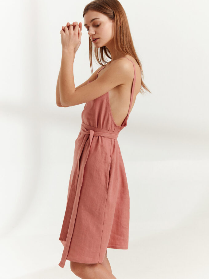 Image 4 of MAPLE Strappy Linen Dress in Salmon Pink from Love and Confuse