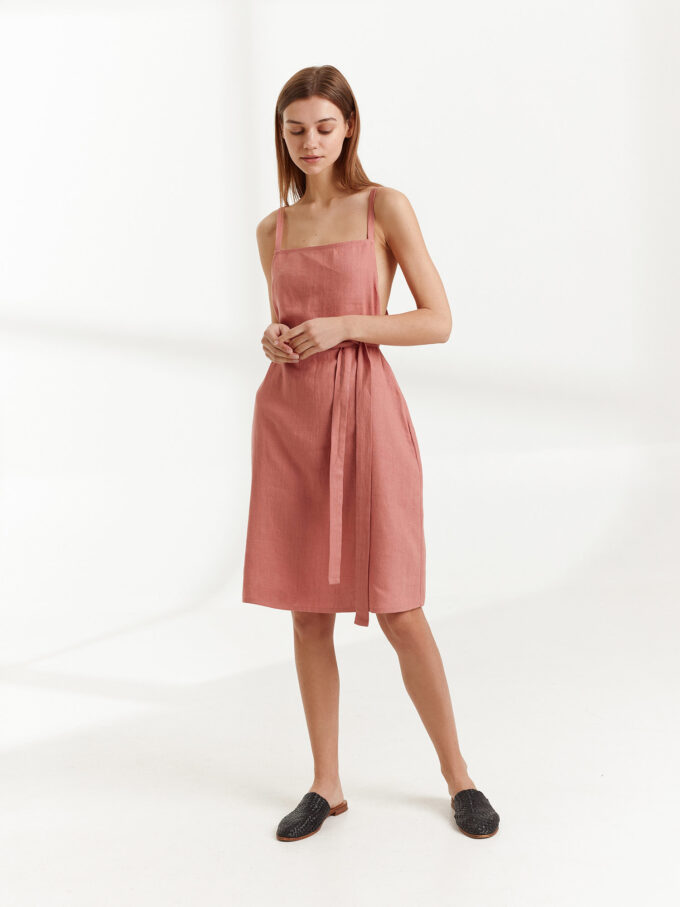 Image 5 of MAPLE Strappy Linen Dress in Salmon Pink from Love and Confuse