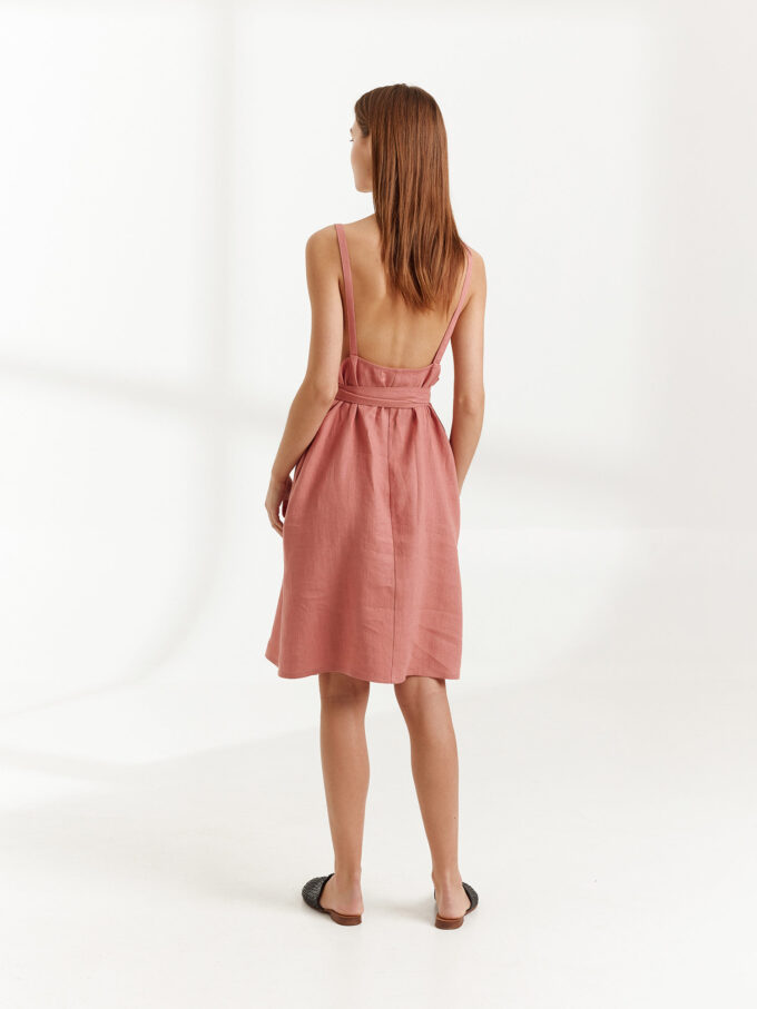 Image 6 of MAPLE Strappy Linen Dress in Salmon Pink from Love and Confuse