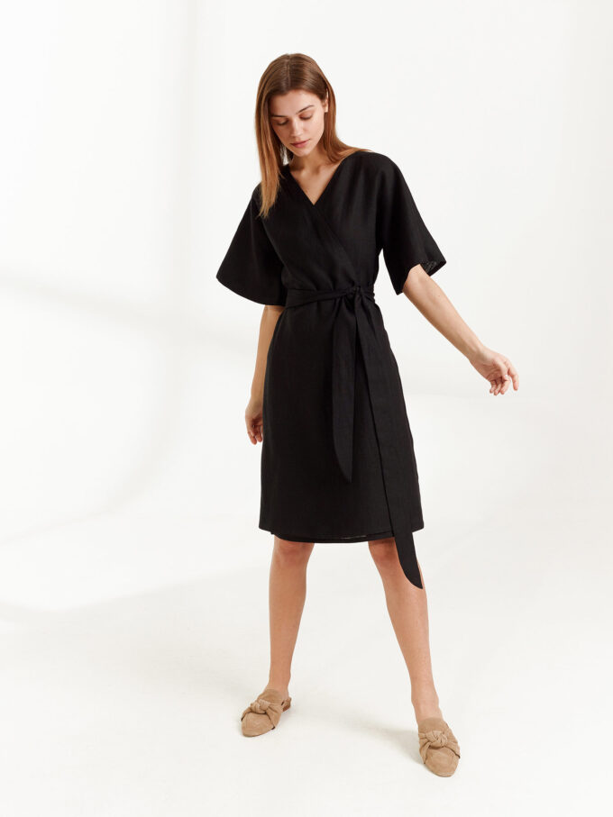 Image 1 of MARY Linen Wrap Dress in Black from Love and Confuse