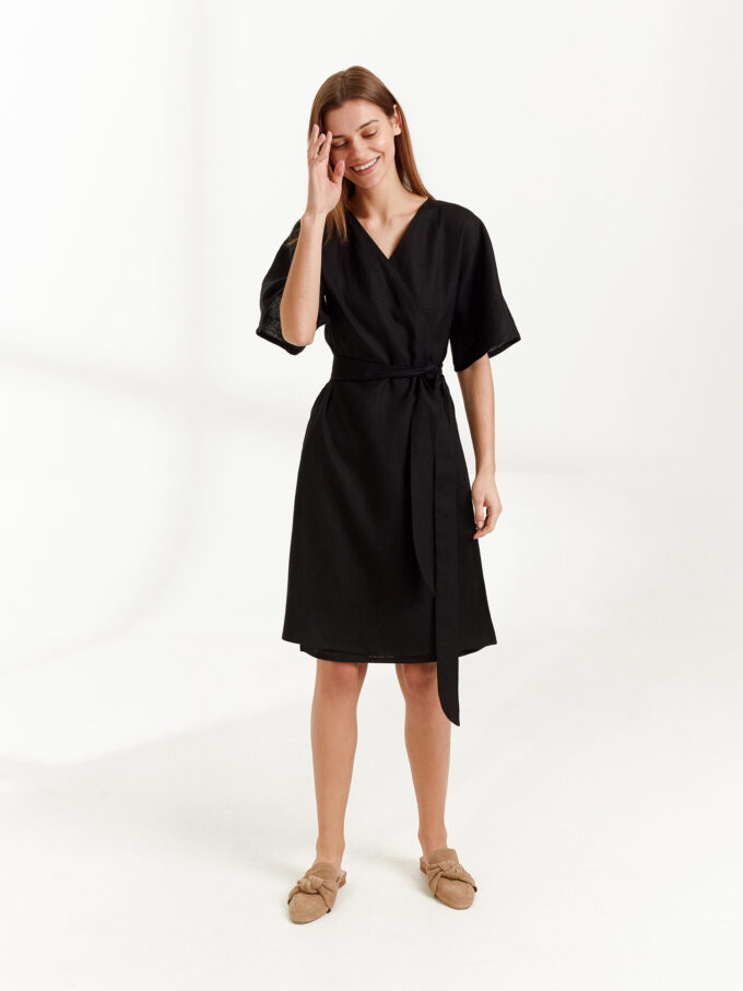 Image 3 of MARY Linen Wrap Dress in Black from Love and Confuse