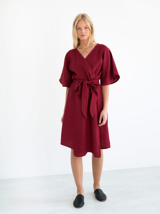 Image 2 of MARY Linen Wrap Dress in Cherry Red from Love and Confuse