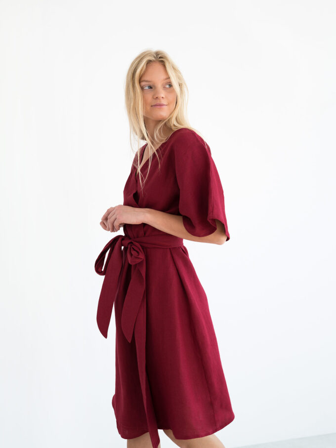 Image 3 of MARY Linen Wrap Dress in Cherry Red from Love and Confuse