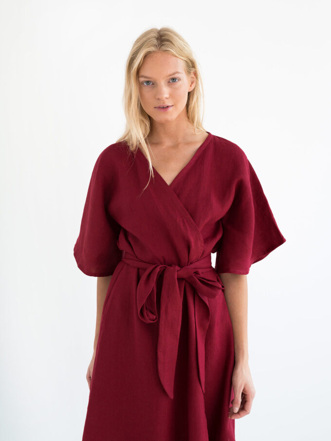 Image 4 of MARY Linen Wrap Dress in Cherry Red from Love and Confuse