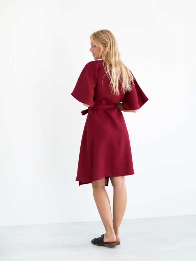 Image 5 of MARY Linen Wrap Dress in Cherry Red from Love and Confuse
