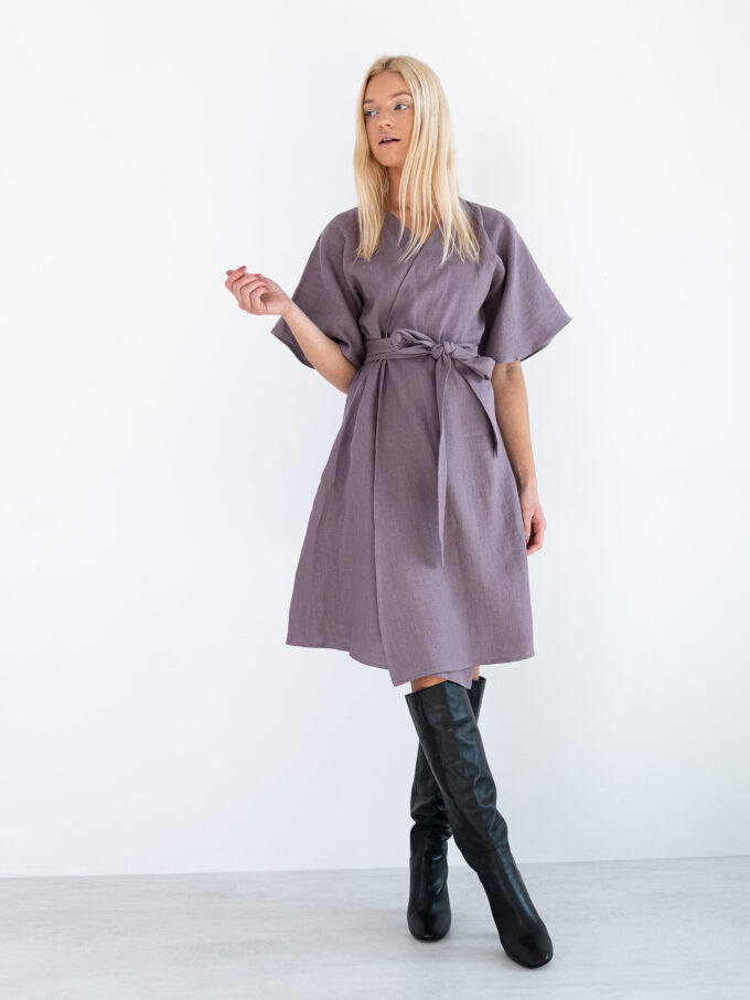 Image 1 of MARY Linen Wrap Dress in Lavender Violet from Love and Confuse