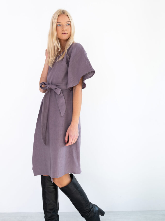 Image 2 of MARY Linen Wrap Dress in Lavender Violet from Love and Confuse